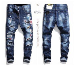 New 2020 D2 Mens jeans Denim Jean Embroidery Tiger Pants Holes d2 Jeans Zipper ICON Pants Trousers skinnydsq2jeans men e81e#