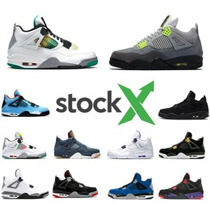 Nike Air Jordan Retro 4 Della X Carnival Court Viola Bred 4 4s IV Cactus Jack Mens Basketball Shoes White Cement Denim Blue Uomo Donna Sport Sneakers Designer