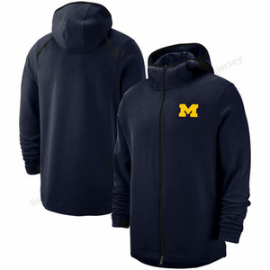 Michigan Wolverines Sweatshirt On-Kortu Basketbol Oyuncu Showtime Performans Tam Zip Hoodie Navy Erkek NCAA Spor Hoodies 2018-2019