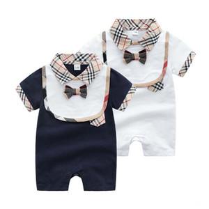 Erkek Yenidoğan Tulum Pamuk Yaka Yaka Kısa Kollu Romper Bebek Bebek Giysi Tasarımcısı Toddler Tulum 0-24 Ay için