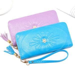 MONNET CAUTHY New Arrivals lange Mappen große Kapazitäts-Multi-Card Slot Geldbörse aus Leder Tassel Sweet Purple Blau Rosa Handtasche