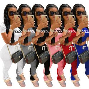 Lettera Womens Stampa Outfits maniche corte insieme a due pezzi della tuta da jogging maglietta Bassiera dei pantaloni Sport Suit 569