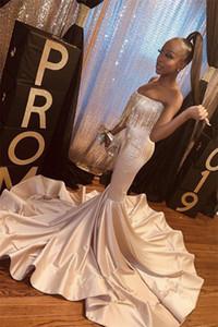 2020 South African Sirène Robes de soirée avec perles bretelles longues Robes de bal Parti Pageant balayage train De Festa Vestidos