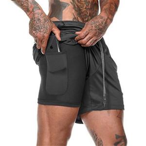 Corrida dos homens Shorts 2-in-1 Sports Shorts Gym Fitness de secagem rápida formação desportiva Jogging aptidão Shorts bolso interno linin dos homens