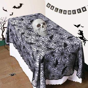 Dia das Bruxas Teia de aranha pano de mesa de renda preta aranha Bat mesa de pano 3 tamanhos retângulo pano de mesa Halloween Party Decor