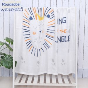 Bamboo fiber children's quilt double-layer gauze baby's home textile bath bath towel towel cartoon summer cool quilt printing baby air