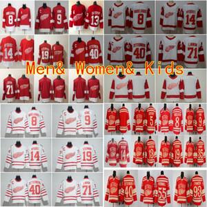 Yeni Detroit Red Wings 13 Pavel Datsyuk Formaları 40 Henrik 8 Justin Abdelkader 19 Steve Yzerman 71 Larkin 91 Sergei Fedorov Howe Kırmızı Retro Sti