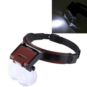 Multifunktions Einstellbare Wartung Dentistry Lesekopf Lupe mit 2 LED-Licht 4 Objektive