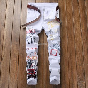 3D Printed Robin Jeans For Men Slim Fit Denim White Skinny Elastic Casual Male Hiphop Fashion Simple Slim Destroyed Denim Robin Trousers