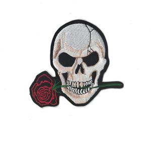 Оптовая продажа патч роза цветок череп вышитые 10 шт. утюг на патчах гладильная одежда вышивка крест кости пиратский флаг аппликация патч