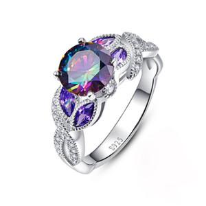 Multicolor Cristal Gema Anillo Mujer de lujo de la joyería de moda 925 anillos de plata esterlina del regalo del amante