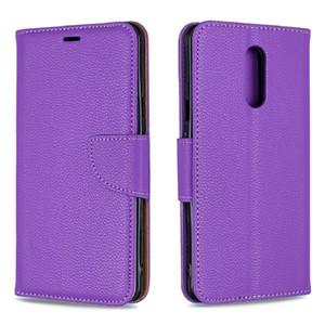 Для LG STYLO 5 Stand Design Wallet личи зерна Pure Color кожаный чехол телефон сумка чехол с телефоном случае и владельца карты B074