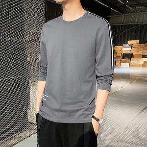 Simple para hombre de la manga larga del resorte del cuello de equipo masculino Slim Fit Solid Ropa Casual Color Tees