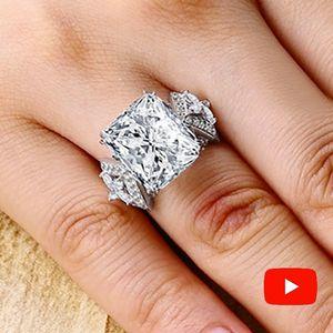 Sona Not Fake Fine Engraving Ring S925 Sterling Silver Diamond Custom Ring التصميم الأصلي 925 Square Cut J190704