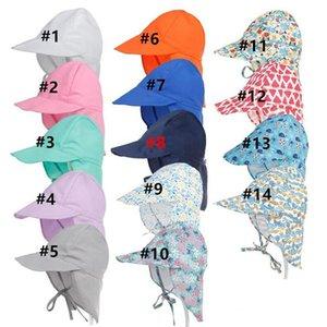 Baby Sun Proteção Cap Praia Outdoor Pescoço Proteção Hat Floral Turbante Quick Dry Ajustável Summer Swim Hat Protetor Solar Anti-UV Sunhats