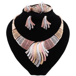 Trendy Nigerian Beads Necklace Jewelry Set for Wedding Crystal African Beads Jewelry Set for Women Earrings Jewellery