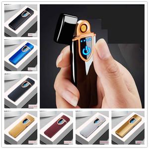 LCD sin llama de la cara del doble de la huella digital del sensor del tacto de mechero recargable metal pulso USB fumadores Encendedores con el regalo de la caja de 8 colores