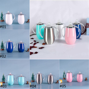 Stainless Steel Double Handle Mug 10oz Sippy Egg Shaped Vacuum Insulated Outdoor Wine Beer Glasses Milk Kids Cups JFJ458