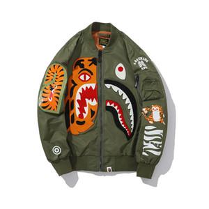 BAPE Herren Stylist Jacket Men WomenStylist Hip Hop Jacke Langarm Schwarz Grün Mens-Qualitäts-Haifisch-Druck-Oberbekleidung