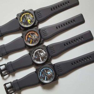 Herrenmode Glocke Uhr Luxuxentwerfer Diamant Iced Out Uhren Edelstahl Bling ross Bewegung Armbanduhr BR01