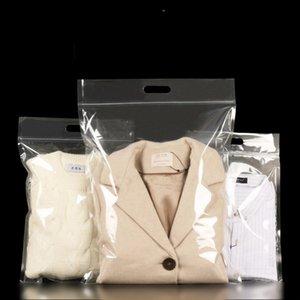 Transparent Portable de perforation main Resceller Boucle Sac emballage en plastique Vêtements Sheets manteau Couvre école Sac à dos Quilt