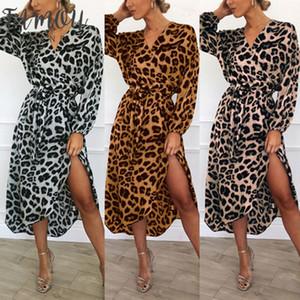 Mujeres Chic Wrap Leopardo Impreso Boho Vestido largo largo Bodycon Manga larga Cuello en V Casual Vestidos sueltos Vestidos Ropa de diseñador