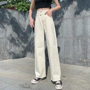 GUUZYUVIZ Apricot High Waist Jeans Wide Leg Pants Denim Buttons Autumn Winter Ladies Jeans Trousers Loose Plus Size Jean Femme