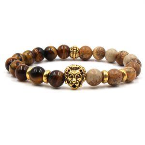 Charm Bracelets charm Chakra Men's Natural Stone Bracelets couple zirconia round lion beads Bracelet&bangle set Jewelry for men best gift