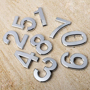 1pc Home Decor Address Hotel Door Sticker Plate Sign House Number 0-9 Silver Three-dimensional Number Sticker 3.5cm High Quality