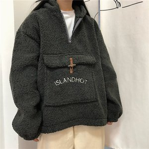 sweatshirt female loose Korean bf plus velvet padded shirt ins dropshipping hoodie clothes hoody punk kpop tee vegan vintage top Y200706