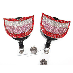 10pcs / lot New bonito Rhinestone dentista Lips Medical Nurse Oral retrátil ID Badge Holder / crachá Reel