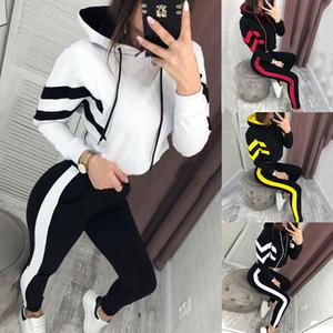 Sportwear Women Fashion 2 Piece Set Tracksuit Sleeve Patchwork Top + Pants Jogging Suits Sportswear Gym Long Sleeve Suit