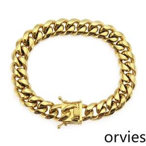2020 men's smooth stainless steel Cuban Bracelet simple gold fashion accessories Bracelet accessories