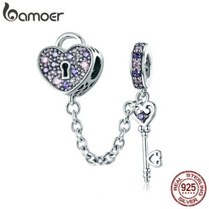 Bamoer 100% 925 Sterling Silver Key Of Heart Lock Crystal Cz Chain Charms Fit Charm Bracelets & Necklaces Chain Jewelry Scc772 C19041203