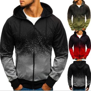 Europe and the United States autumn and winter new 3d digital printing hooded sweater foreign trade men's gradient design shirt male