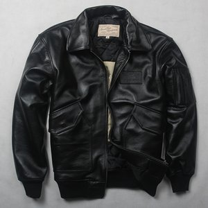 Air Winter Men's Force Flight Genuine Men Motorcycle Cow Leather Coat Bomber Jacket plus size