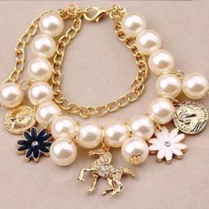 Bracelet De Mode Poire Pour Femmes Deux Chaînes Tête De Cheval De Troie Et De Charme De Bracelets Dames Bracelet Pour Femmes Designer