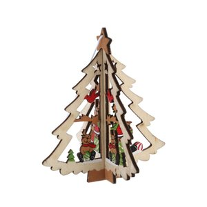 New-3D Xmas Tree Pendants Hanging Wooden Christmas Decoration Home Party Decor Christmas tree