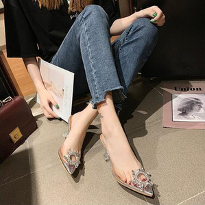 Hot Sale-WHOSONG 2019 nuova estate del diamante delle donne sole cristallo trasparente sottolineato vetro scarpe col vino con sandali moda selvatici