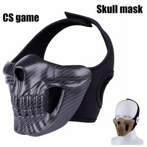 Chasse tactique de crâne masque de Paintball Outboor Halloween Cosplay CS crâne Masques moitié du visage Masque de protection au chaud