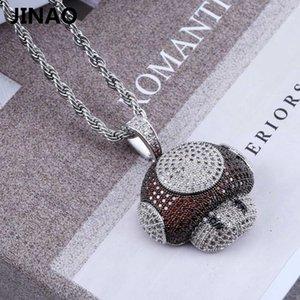 Jinao New Fashion Iced Out Pilz Halskette Anhänger Kupfer Bicolor Kubikzircon Halskette Hip Hop Herrenschmuck Geschenke Y19061703
