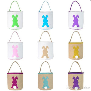 2020 Easter Rabbit Basket Easter Bunny Bags Rabbit Printed Canvas Cute Tote Bag Egg Candy Basket Bucket Gift Storage Party Ear Handbag