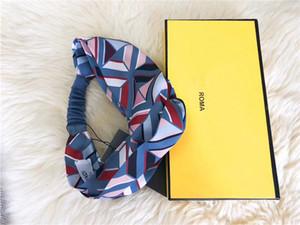 Designer Stirnband Weiseluxuxfrauen Stirnband F Geometrische Printed Turban Elastic Kreuz Seide wie Headwraps mit Box-Mädchen-Geschenke Idea