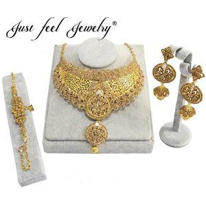 JUST FEEL India Gold Color Ensembles de bijoux Collier Ras Du Cou Boucles D'oreilles Bracelets Nigérian Big African Wedding Accessoires De Mariage Cadeau