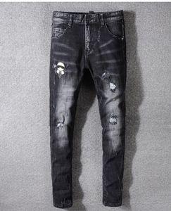 Yeni İtalya Stil # 3304 # Erkekler Sıkıntılı Kelebek İşlemeli Pantolon Beyaz Yan Çizgili Mavi Skinny Jeans İnce Pantolon Boyut 29-40