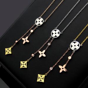 V письмо вырез четырехлистный цветок кисточкой цвет ожерелье дамы трехцветный четырехлистный клевер ожерелье