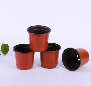 D9xH8CM 100PCS / LOT doppelte Farbe Plastiktöpfe Kaliber Korrosionsbeständigkeit postoral Kunststoff-Blumentöpfe aus Kunststoff Nursery Töpfe