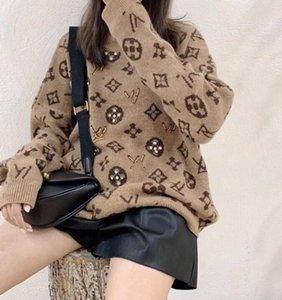 Hot dames sexy de la marque paresseux Loose chaud en cachemire de luxe d'hiver en peluche Mode étudiant Lettre Knit Pull Lazy Casual Accueil Pull