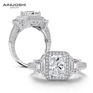 Anillo de compromiso AINUOSHI 925 Radiant Cut de Halo para las mujeres diamante simulado Tres anillos de piedra del anillo de aniversario