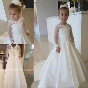 2020 Nuevo vestido de niña de las flores con apliques de encaje satinado para el banquete de boda Mangas largas Niños pequeños Niñas Vestidos de primera comunión Concurso de Navidad
